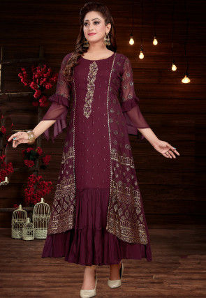 Embroidered Georgette Jacket Style Kurta in Wine
