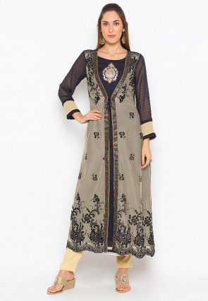 Embroidered Georgette Jacket Style Kurta Set in Beige and Black