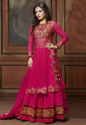 Embroidered Georgette Jacket Style Lehenga in Fuchsia