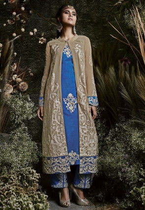 Embroidered Georgette Jacket Style Pakistani Suit in Blue