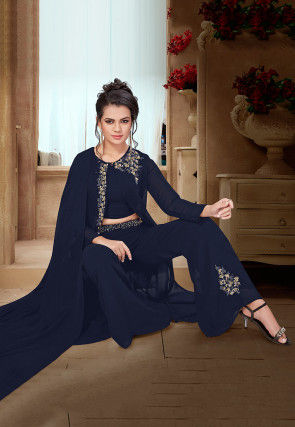 Embroidered Georgette Jacket Style Pakistani Suit in Navy Blue