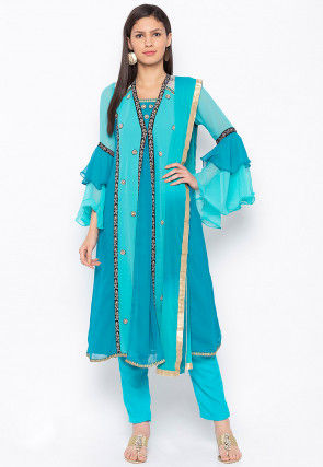 Embroidered Georgette Jacket Style Pakistani Suit in Turquoise