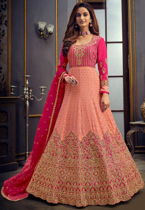 Embroidered Georgette Jacquard Abaya Style Suit in Peach