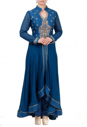 Embroidered Georgette Jacquard Asymmetric Kurta Set in Blue