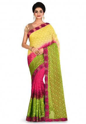 Embroidered Georgette Jacquard Saree in Multicolor