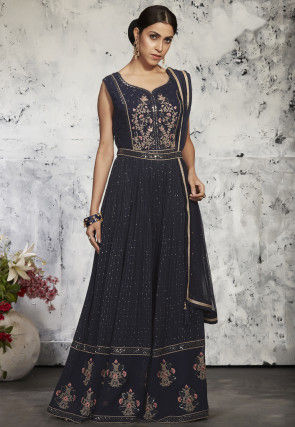 Embroidered Georgette Jumpsuit in Charcoal Black