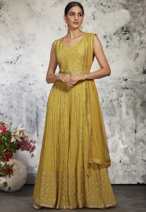 Embroidered Georgette Jumpsuit in Mustard