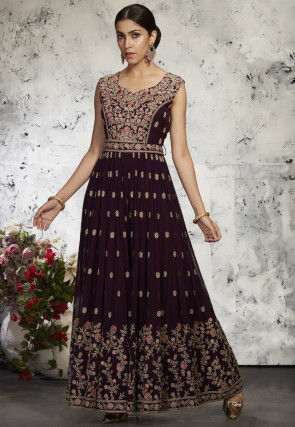 Embroidered Georgette Jumpsuit in Wine