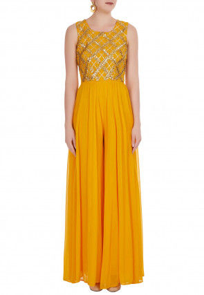 Embroidered Georgette Jumpsuit in Yellow