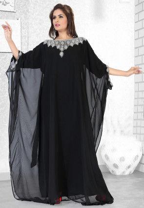 Embroidered Georgette Kaftan in Black