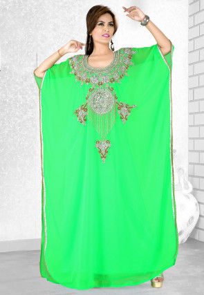 Embroidered Georgette Kaftan in Green