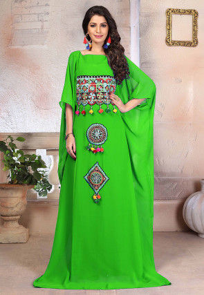 Embroidered Georgette Kaftan in Light Green
