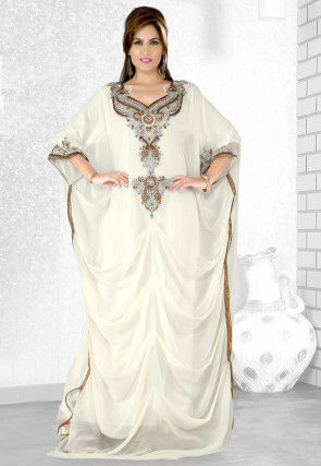 Embroidered Georgette Kaftan in Off White