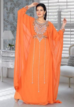 Embroidered Georgette Kaftan in Orange