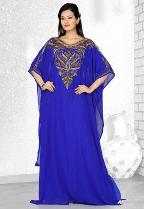 Embroidered Georgette Kaftan in Royal Blue