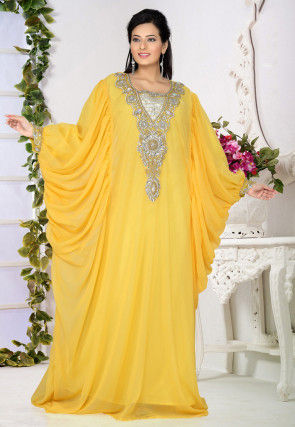 Embroidered Georgette Kaftan in Yellow