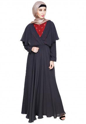 Embroidered Georgette Kimono Style Abaya in Charcoal Black