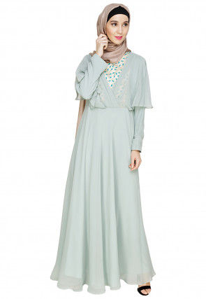 Embroidered Georgette Kimono Style Abaya in Pastel Blue