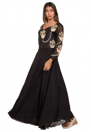 Embroidered Georgette Gownin Black