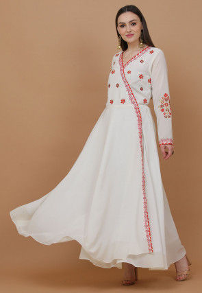 Embroidered Georgette Kurta in Off White