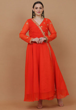 Embroidered Georgette Anarkali Kurta in Orange