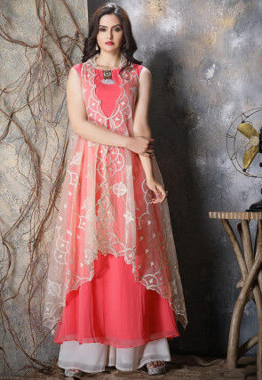 Embroidered Georgette Kurta in Pink