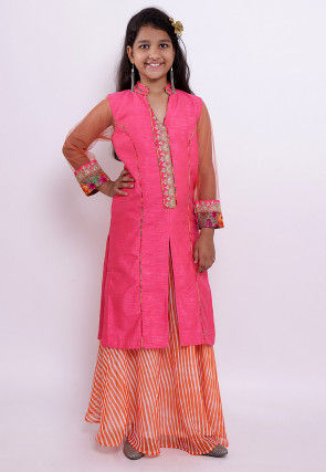 Embroidered Georgette Kurta N Skirt in Orange and Pink