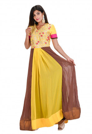 Embroidered Georgette Kurta Set in Yellow and Brown