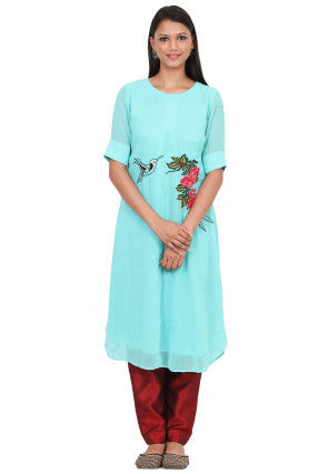 Embroidered Georgette Kurta with Pant in Light Turquoise