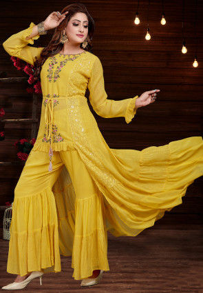 Embroidered Georgette Kurta with Sharara in Mustard