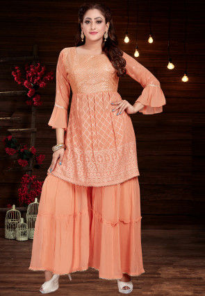 Embroidered Georgette Kurta with Sharara in Peach