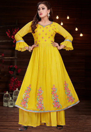 Embroidered Georgette Kurta with Sharara in Yellow