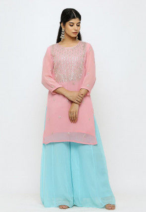 Embroidered Georgette Kurti in Baby Pink