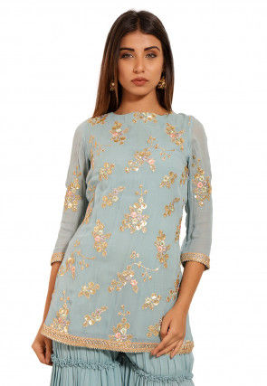 Embroidered Georgette Kurti in Light Dusty Blue