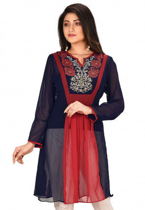 Embroidered Georgette Kurti in Red and Navy Blue