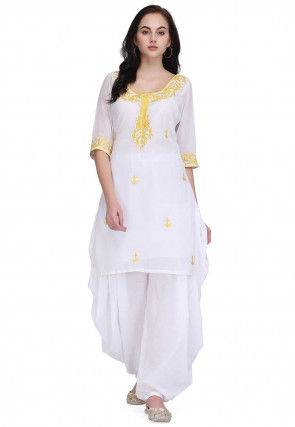 Embroidered Georgette Kurti with Dhoti Pant in White