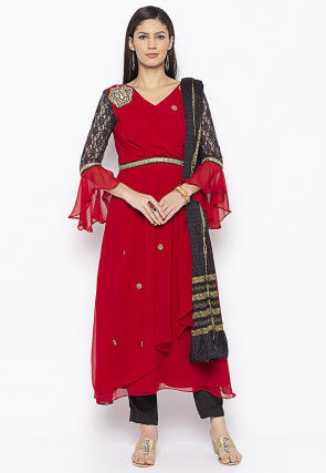 Embroidered Georgette Layered A Line Suit in Red
