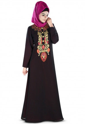 Embroidered Georgette Layered Abaya in Black