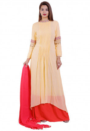 Embroidered Georgette Layered Abaya Style Suit in Pastel Orange