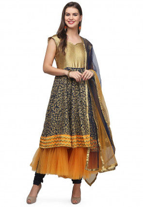 Embroidered Georgette Layered Anarkali Suit in Blue and Golden