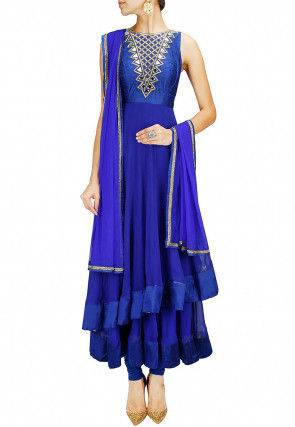 Embroidered Georgette Layered Anarkali Suit in Blue