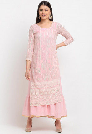 Embroidered Georgette Layered Kurta in Baby Pink