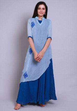 Embroidered Georgette Layered Kurta in Blue