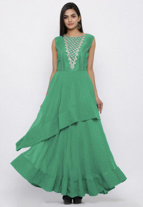 Embroidered Georgette Layered Kurta in Green