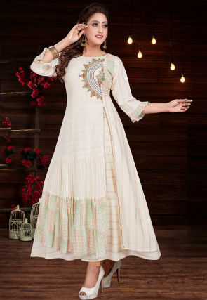 Embroidered Georgette Layered Kurta in Off White
