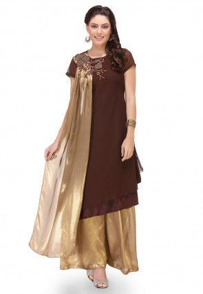 Embroidered Georgette Layered Kurta Set in Brown And Golden