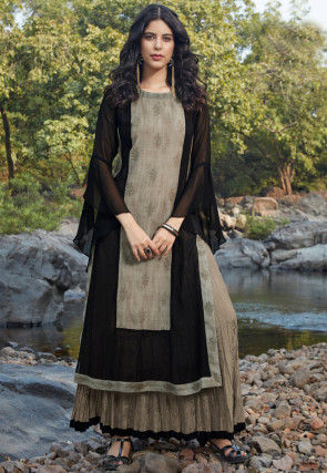 Embroidered Georgette Layered Midi Dress in Black and Beige