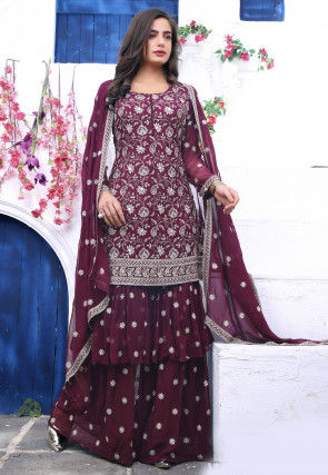 Embroidered Georgette Layered Pakistani Suit in Wine
