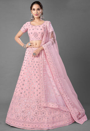Embroidered Georgette Lehenga in Baby Pink