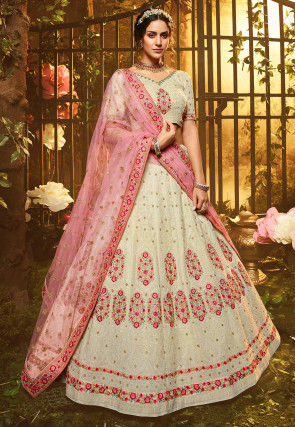 Embroidered Georgette Lehenga in Beige